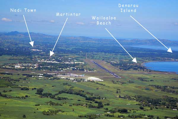Map Of Nadi Airport In Fiji Islands Showing Hotel Locations